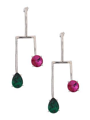 Green-Pink Crystal Silver Earrings