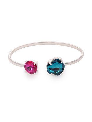Blue-Pink Crystal Silver Cuff