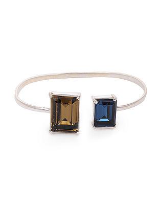 Blue-Brown Crystal Silver Cuff