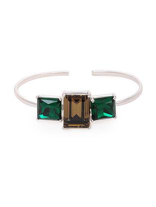 Green-Brown Crystal Silver Cuff