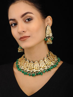 Green Gold Tone Kundan Necklace with Jhumki Earrings (Set of 2)