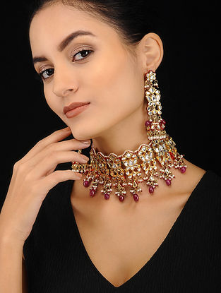 Maroon Gold Tone Pearl Beaded Kundan Necklace with Jhumki Earrings (Set of 2)