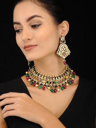 Multicolored Gold Tone Kundan Necklace with Earrings