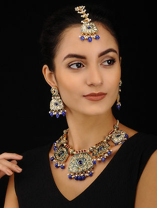 Blue Maroon Kundan and Meenakari Necklace with Earrings (Set of 2)