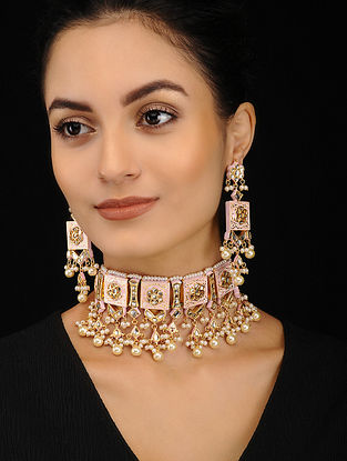 Pink Gold Tone Enameled Kundan Necklace with Earrings (Set of 2)
