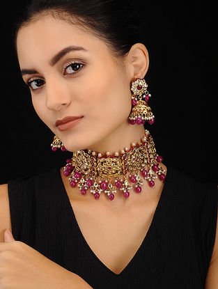Maroon Gold Tone Kundan Necklace with Jhumki Earrings (Set of 2)