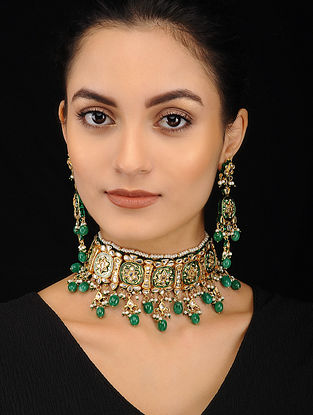 Green Gold Tone Pearl Beaded Kundan Necklace with Earrings (Set of 2)