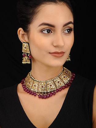 Maroon Green Gold Tone Kundan Necklace with Jhumki Earrings (Set of 2)