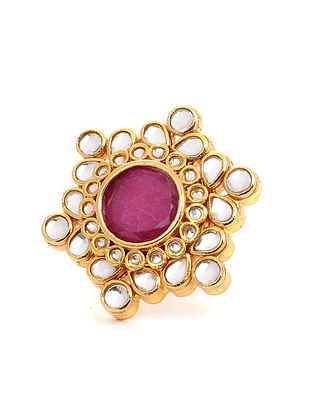 Maroon Gold Tone Kundan Ring