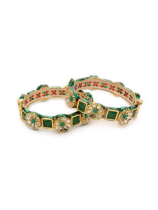 Green Gold Tone Kundan Bangles (Set of 2) (Bangle Size: 2/2)