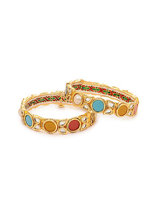 Multicolored Kundan Bangle (Set of 2) (Bangle Size: 2/10)