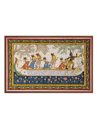 Krishna Nauka Raas Pattachitra on Silk 22in x 32.5in