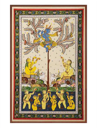 Krishna with Gopiya Pattachitra on Silk 31in x 21.5in