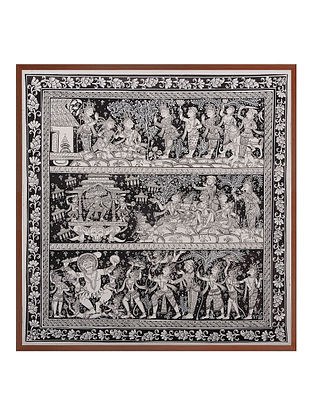 Ramayana Katha Pattachitra on Patta 22in x 22in
