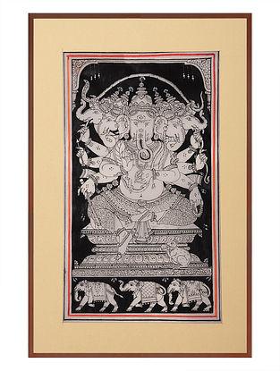 Panchmukhi Ganesha Pattachitra on Silk 17in x 12in