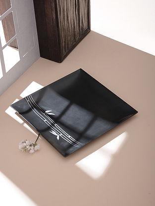 Silver Inlaid Bidri Platter - Bamboo (6in x 6in)