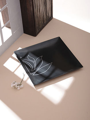 Silver Inlaid Bidri Platter - Lotus (6in x 6in)