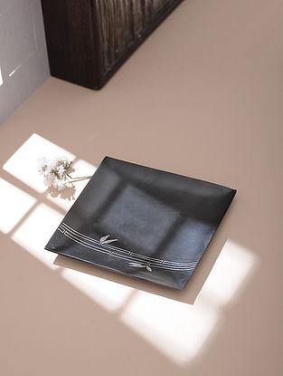 Silver Inlaid Bidri Platter - Bamboo (4in x 4in)