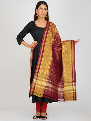 Maroon-Yellow Single Ikat Patola Silk Dupatta with Zari Border