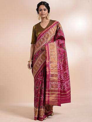 Magenta-Ivory Single Ikat Silk Saree