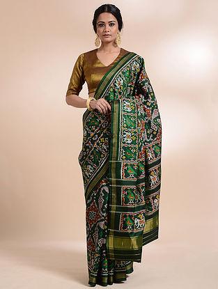 Green-Ivory Single Ikat Silk Saree