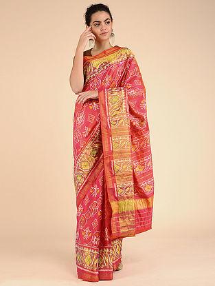 Pink-Yellow Single Ikat Silk Saree