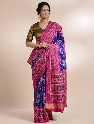 Blue-Pink Single Ikat Silk Saree
