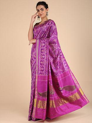 Pink-Ivory Single Ikat Silk Saree