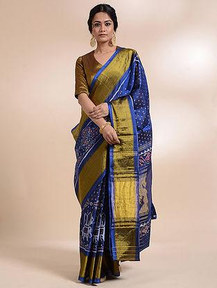 Blue Single Ikat Silk Saree
