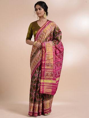 Green-Pink Single Ikat Silk Saree
