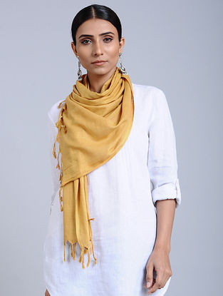 Yellow Handloom Silk Scarf