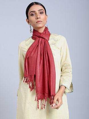Red Handloom Silk Scarf
