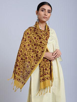 Yellow Red Handloom Block printed Silk Scarf