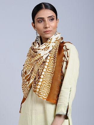 White-Copper Handloom Block printed Silk Scarf
