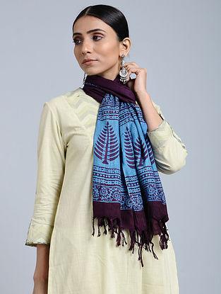Blue-Purple Handloom Block printed Silk Scarf