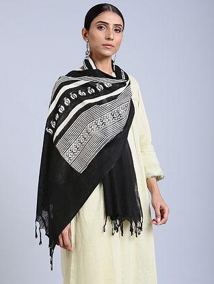 Black-White Handloom Block printed Silk Scarf