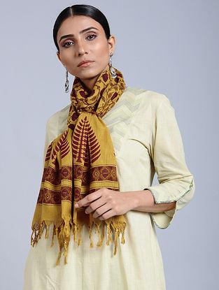 Yellow-Maroon Handloom Block printed Silk Scarf