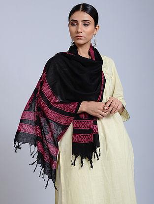 Black-Pink Handloom Block printed Silk Scarf
