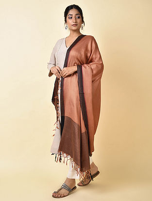 Brown-Black Matka Muga Silk Dupatta