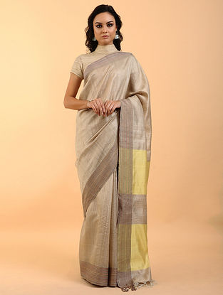 Beige-Yellow Handwoven Tussar Silk Saree