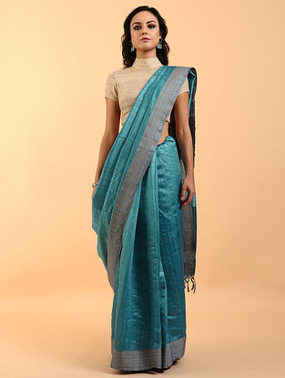 Blue-Grey Handwoven Tussar Silk Saree