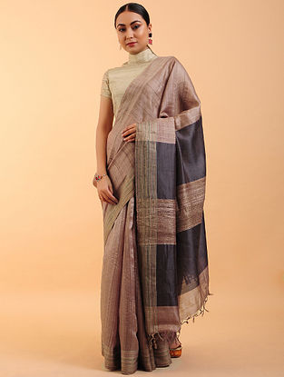 Brown-Black Handwoven Tussar Silk Saree