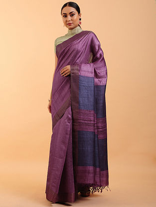Purple-Blue Handwoven Tussar Silk Saree