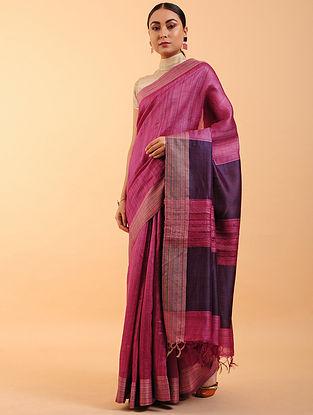 Magenta Handwoven Tussar Silk Saree