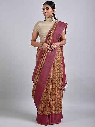 Beige-Pink Handwoven Block Printed Matka Silk Saree