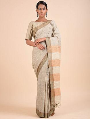 Grey-Orange Handwoven Matka Silk Saree