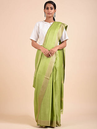 Green Handwoven Tussar Eri Silk Saree