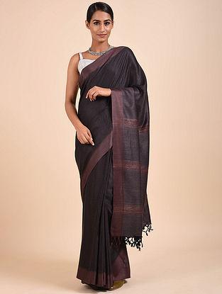 Black-Purple Handwoven Tussar Eri Silk Saree