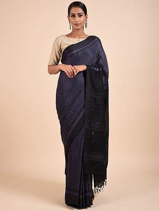 Purple-Black Handwoven Tussar Eri Silk Saree