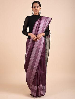 Purple Handwoven Eri Tussar Silk Saree